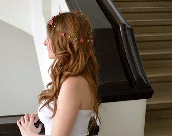 Bridal Boho Headband, Hippie Hairband, Crochet Headband, Wedding Coral Flowers Pearls Hair Jewelry, Flower Girl Hair, Bridesmaid Hair