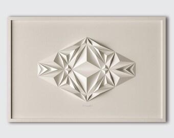 Geometric Art-White Paper Relief-Modern Minimal Sculpture-Abstract Wall Decor-By Kubo Novak-Original-Icosa2-2-2