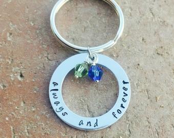 Always And Forever Keychain, Love Keychain, Handstamped Keychain, Handstamped Jewelry, Anniversay Keychain, Custom Keychain