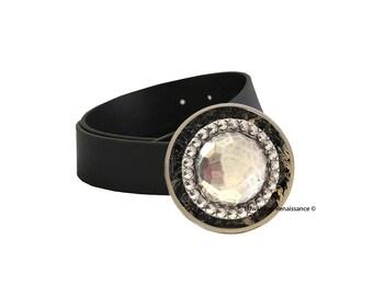 Boucle de ceinture de Bejeweled facettes médaillon incrusté émail brillant peinte à la main avec le Design de tourbillon or disponible dans d'autres couleurs