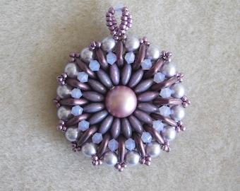 Bead Pendant Tutorial, Beading Pattern, Czechmates Quadratile, 2 Hole Lentil, Swarovski Bicone, Beadweaving, Instructions, Jewelry, PDF