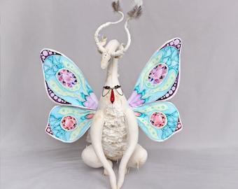 MAKE TO ORDER. Flower Butterfly Dragon. Art Collectible Toy, Magic Dragon, Butterfly Wings Dragon, Butterfly Wings