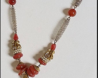 A  vintage 1930s  Art Deco Czech carnelian glass and pearl necklace on a very fine mesh chain