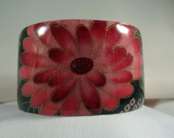 SALE BRACELET-Pink Flower Wide Cuff Bracelet, Resin, Fabric, Metal, Jewelry, Accessories (CCB173)