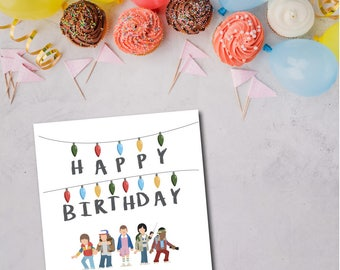 stranger things birthday card with envelope