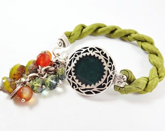 Olive Green Exotic Boho Gypsy Statement Adjustable Bracelet - Turkish Silk Stackable - Semi Precious Stone Glass Beads - Silver