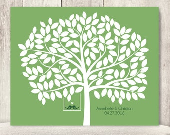 """Wedding Guest Book Alternative Poster DIY // Guest Tree on Bright Grass Green, Love Birds // Printable PDF // """"Leaving Wishes"""" ▷ 150 Leaves"""