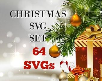 SVG - 64 Christmas Designs Set - SVG Set - Christmas - Reindeer - Cookies for Santa - Cookies for Santa Plate - Xmas