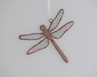 Rose Stained Glass Dragonfly Suncatcher (small)
