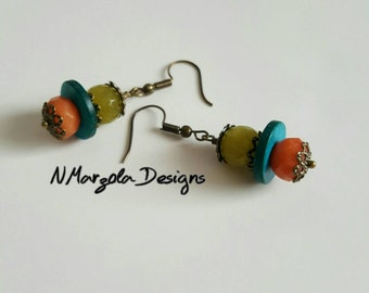 Crystal Earrings, Crystal and Wood Earrings, Melon and Green Crystal Earrings