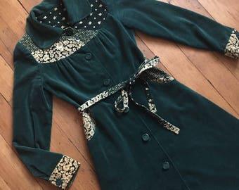 vintage 1970s jacket // 70s green velvet jacket and belt