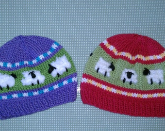 Sheep in the Meadow Child's Knit Hat Pattern