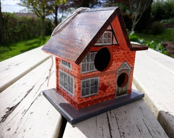 Wooden Hanging Birdhouse Birdbox, Garden Ornament, Hand Painted Acrylic 'Red Brick Town House', Decoration, Outside, Spring, Summer