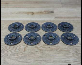 Set of 8 flanges floor ' 1/2-15/21 mm black cast iron - 3 hole - free shipping (in metropolitan France only)