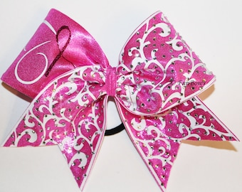 TOTALLY blinged out Breast Cancer Awareness Butterfly Cheer bow - by Funbows