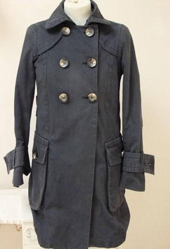 Zara Coat, Blue Trench Coat, Blue Blazer Coat, Zara Unisex Coat, Double Breasted Coat, Cuff Coat, Smoked Blue Coat, Blue Blazer - Size M