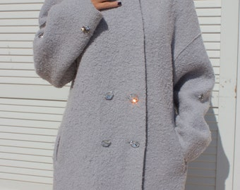 Handmade  Embroidery Gray Coat One Size