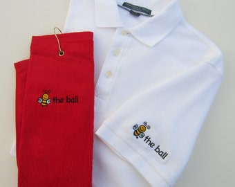 Men's Golf Gift | Includes BEE THE BALL Embroidered Polo and Towel | White Golf Shirt | Size Small | Embroidered Sleeve | Red or White Towel