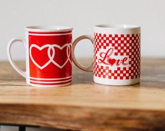 Vintage Heart Mugs Set of 2