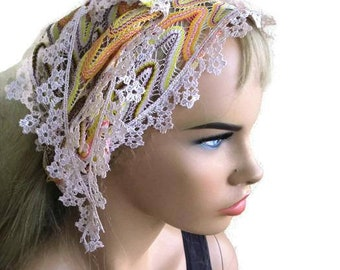 pastel color Lace scarf Hair wrap,headband, head scarf-Boho chic head wrap with lace trim-headband Hair wrap-neck scarf