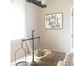 LARGE Home Sweet Home Sign | Reclaimed Wood | Hand Painted Sign
