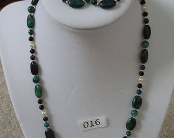 mixed green Australian jasper, jet, and pearl necklace and earrings set