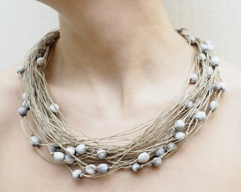 Adlay Linen necklace