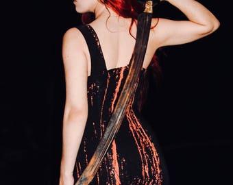 Gothic Dress - Bleach Dye - Ruffled Dress - V Neck Dress