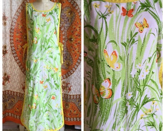 SALE! Butterfly Print Full Length Apron Dress Vintage Fabric Artist's Smock One Size OOAK