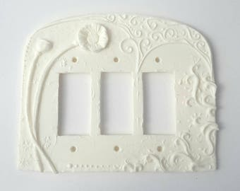 Art Nouveau Poppy Triple Rocker Paddle switch cover, switchplate in Satin White