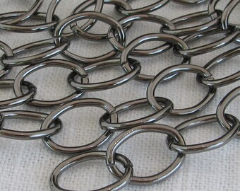 Gunmetal Plated Steel Purse or Belt Chain Ch011 -3 Feet