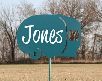 Personalized Camper Sign, Camper Name Sign, Motorhome gift, teardrop camper, happy campers, camping sign, RV sign, custom camper sign