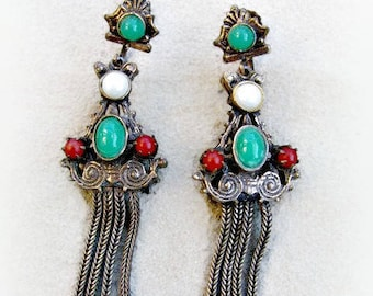 Victorian Revival Earrings, Tassel Fringe, Bohemian Style, Bronze, Etruscan, Jeweled Dangles, Faux Pearl, Jade, Carnelian, Screw Backs