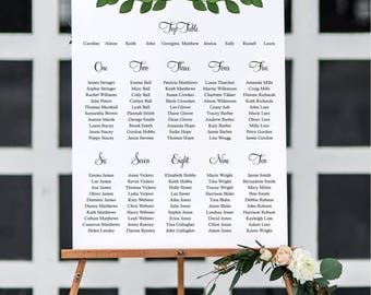 Personalised 'Georgina' leaf design Wedding Table Seating Plan - various sizes A1 A2 A3 FREE standard  POSTAGE