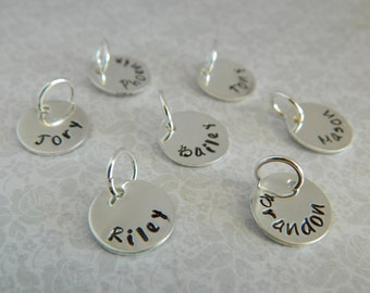 """1/2""""  Tags Hand stamped personalized custom customized sterling silver names dates charms disc"""