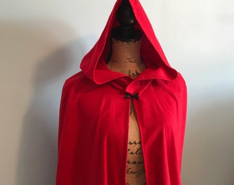 Red Hooded cloak, red cloak, medieval cloak, wiccan clothing, red riding hood cloak