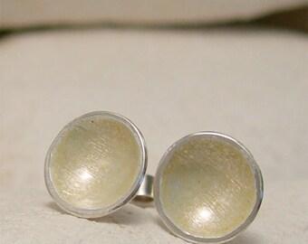Ivory Cream Earrings, Pearl Enamel Stud Earrings, Dome Stud Disc Earrings, Organic Earrings, Artisan Earrings, Enamel Jewelry Beach Earrings