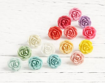 30 pcs 13mm Assorted Dainty Resin Rose Cabochons 13mm White Ivory Yellow Pale Pink Coral Fuchsia Turquoise Aqua Blue Teal Purple Green