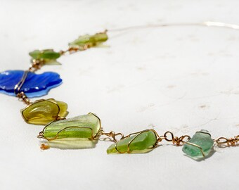 Free Shipping Green Blue Roman Glass Necklace Gold Filled Necklace.  Roman Glass Jewelry Roman Glass with Sea Glass Necklace from Israel