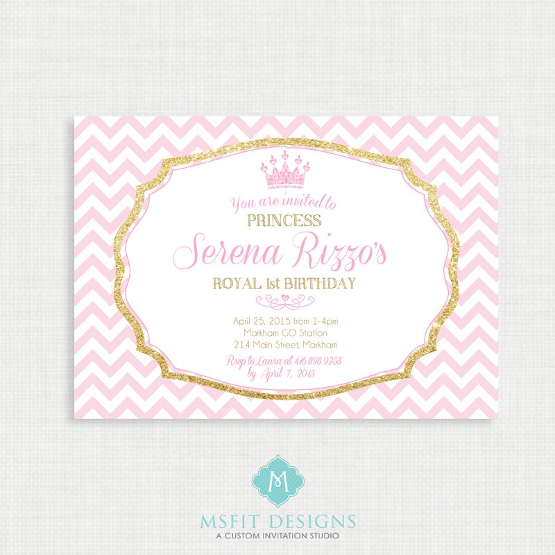 Princess Birthday Invitation- Tiara Birthday party invitation ...