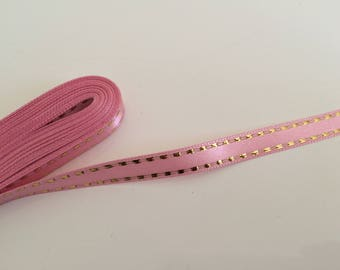 Coupon of 10 meter of pink and gold liseraie 1 cm satin ribbon