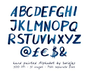 Digital Alphabet, Watercolor Letters, hand painted abcs, scrapbooking, stationery, card making, wedding invitation, indigo clip art, clipart