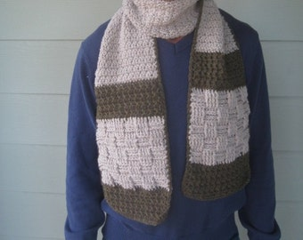 Mens rustic scarf crochet pattern with multiple pattern motifs // Gifts for him // Beginner to intermediate crochet pattern // Tutorial