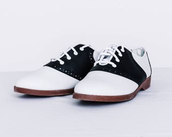 Saddle Shoes & Oxfords - Black and White Women's Oxford Shoes