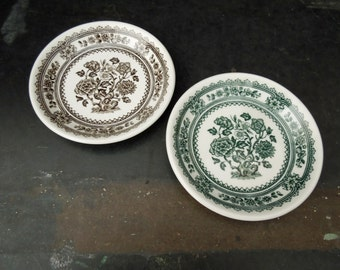 Vintage Ironstone Butter Pats -Ceramic Mini Plates - Green Brown Transferware - Dorset Wood & Sons Monochrome Dishes