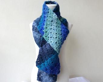 Blue Knit Scarf Crochet Winter Scarf