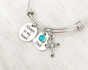 Loss of a Parent - Sympathy Jewelry Gift - Bereavement Gift - Loss of a Dad - Memorial Bracelet - Personalized - Always in my Heart Bracelet