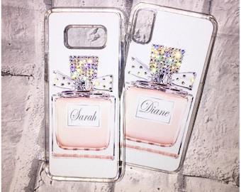 Personalized Name Perfume Bottle Swarovski Crystal Phone Case