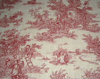 Fabric pure linen nature Toile de Jouy red classic