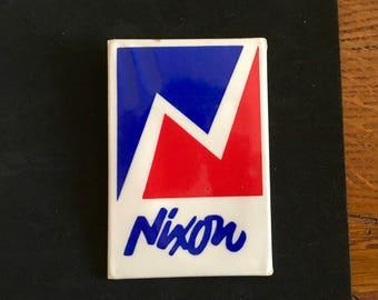 Vintage Oversized 1968 Nixon Campaign Button/ Unusual Rectangle/ 1968 Election/ President Nixon/ Nixon and Agnew